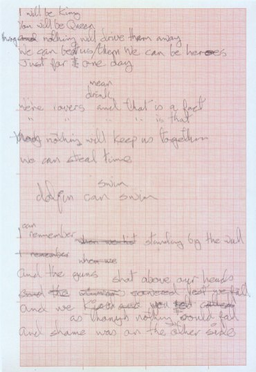 "David Bowie's handwritten lyrics for ""Heroes"""