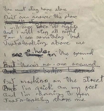 David Bowie's handwritten lyrics for Hole In The Ground