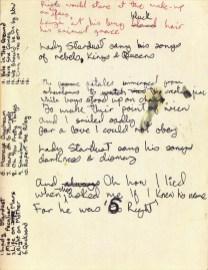David Bowie's handwritten lyrics for Lady Stardust
