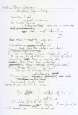 David Bowie's handwritten lyrics for Move On