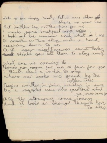 David Bowie's handwritten lyrics for Oh! You Pretty Things