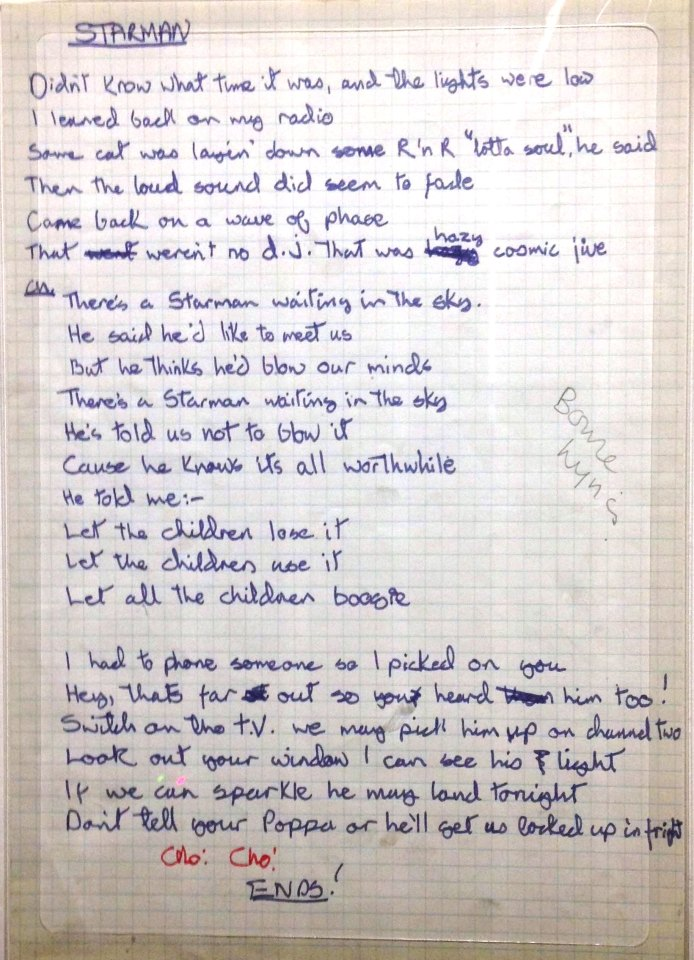 David Bowie's handwritten lyrics for 'Starman'