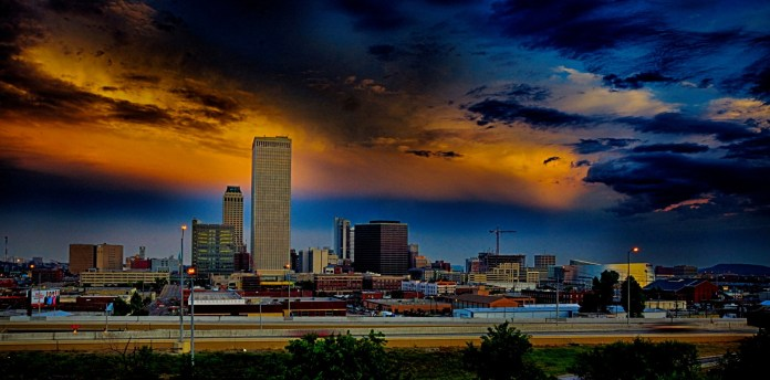 Downtown Tulsa Skyline after the storm