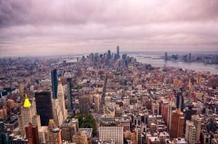 Overcast NYC Skyline looking towards Freedom Tower