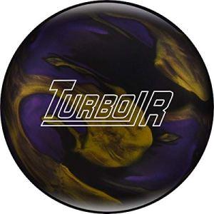 Ebonite Turbo/R – Noir/Violet/doré, Surface polie, Boule de Bowling réactive pour débutants et Joueurs de Tournoi – avec nettoyant de Balle EMAX 100 ML, 14 LBS