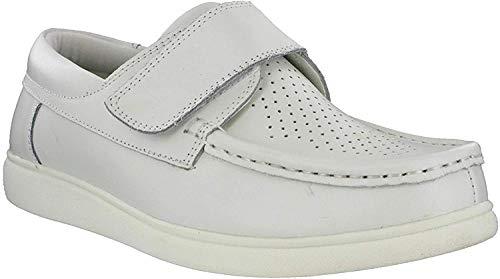 DEK Bowling Bowling Fermeture Velcro Cuir Plat Sport Unisexe Respirant Chaussures – Blanc, 6 UK