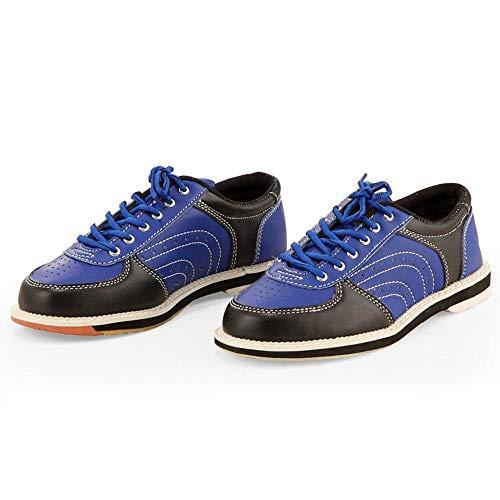 FJJLOVE Chaussure De Bowling, Cuir De Lacets en Cuir Bols Entraîneurs Sportifs Chaussures De Bol Respirant,Bleu,46