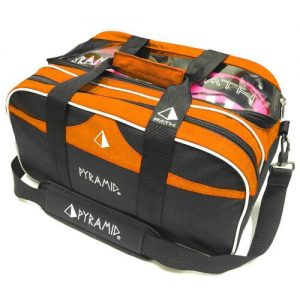 Orange/Black Pyramid Path Double Tote with Clear Top