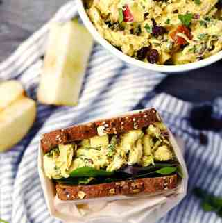 Curried Chicken Salad with Apples and Raisins (with a dairy-free option!)