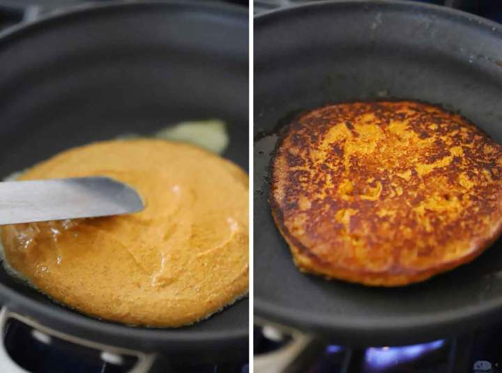 Spreading pumpkin pancake batter in a skillet and flipping the pancake.