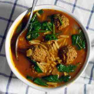 Italian Spinach, Orzo, and Meatball Soup