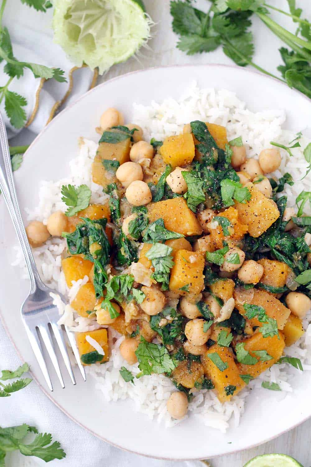 This spicy, healthy, vegan stew is packed full of butternut squash, chickpeas, spinach, and warm moroccan flavors. It's healthy, hearty, and gluten-free. Make in bulk and freeze the extra! #RasElHanout #VeganRecipes #ButternutSquash #Chickpeas #VeganStews #GlutenFree #GrainFree #DairyFree