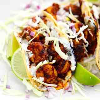 Blackened Shrimp Tacos with Creamy Dill Sauce