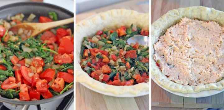 This spicy southern tomato and spinach pie is delicious and decadent! It's the perfect make-ahead party or brunch dish, and can be served hot, cold, or room-temperature.