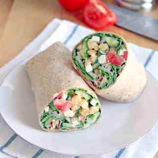 Mediterranean Chickpea and Feta Salad Wrap with Creamy Greek Dressing