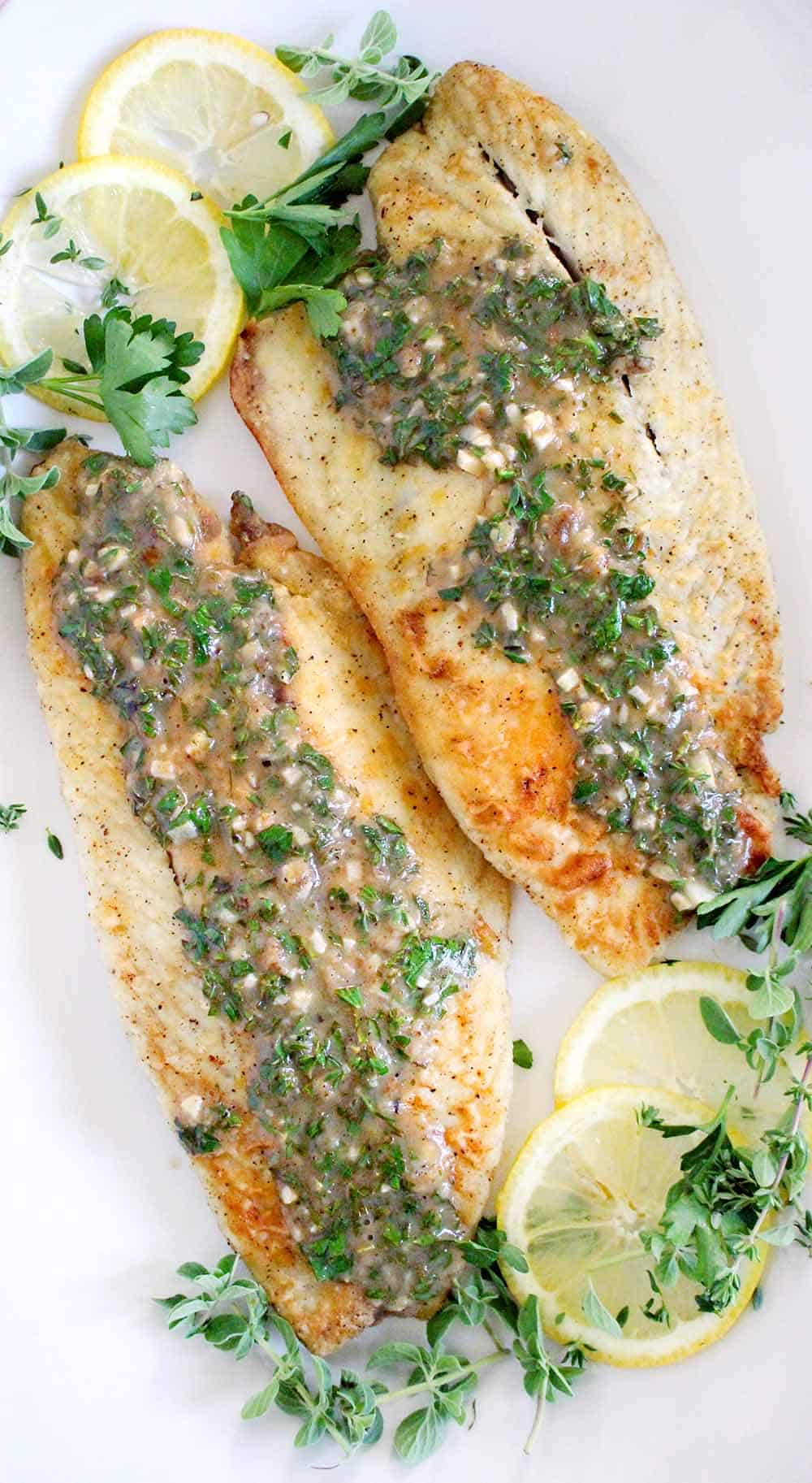 Pan-fried Seabass with Garlic Lemon Butter Sauce