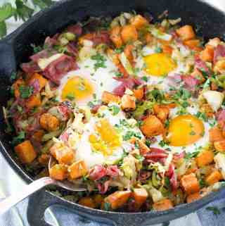 Sweet Potato, Corned Beef, and Cabbage Breakfast Bake
