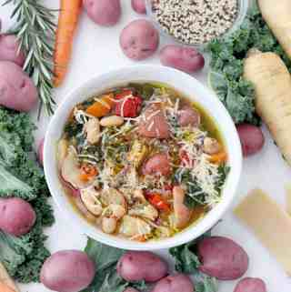 Winter Minestrone Soup with Root Vegetables and Quinoa (Instant Pot + Slow Cooker Optional)