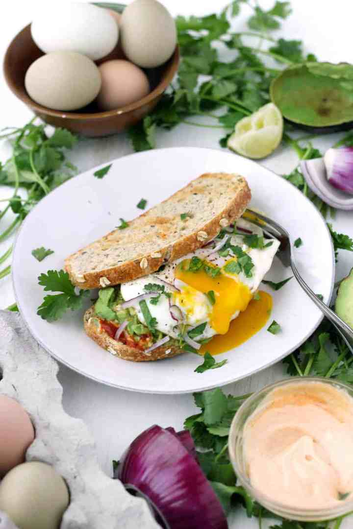 This Vegetarian Breakfast Sandwich Recipe is my absolute favorite. Features smashed avocado, Sriracha mayo, and a perfect sunny-side-up egg, with a little lime juice, cilantro, and red onion for extra flavor. It's easy to make for a hearty weekend breakfast or brunch!