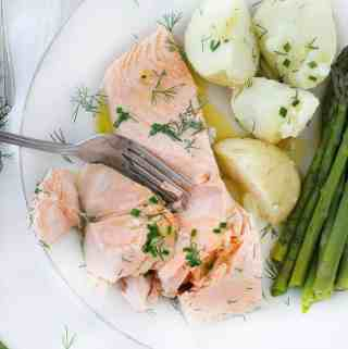 15-Minute Perfect Poached Salmon with Chive Butter