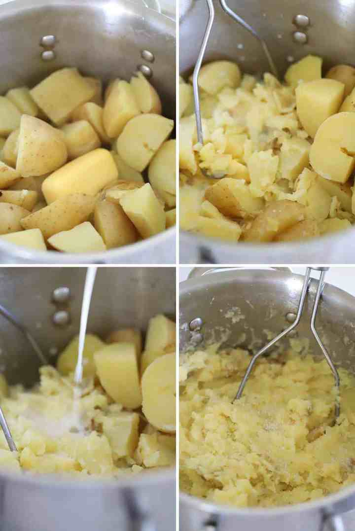 Making mashed potatoes in a pot with butter and milk.