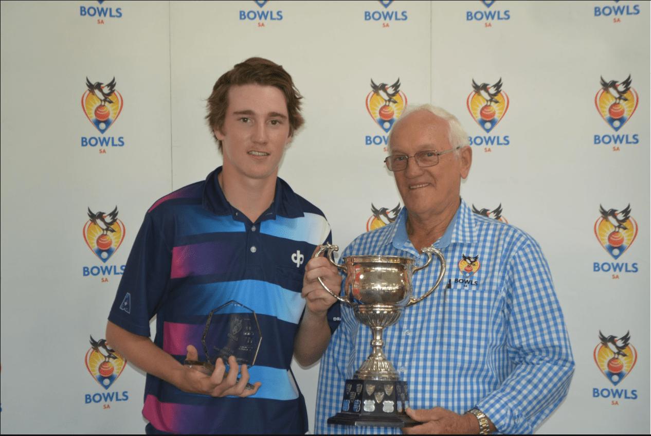 South Australia's youngest ever state singles champ Josh Studham & Bowls SA director Leith Gregurke