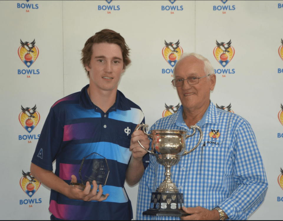 South Australia's youngest ever state singles champ Josh Studham & Bowls SA director Leith Gregurke