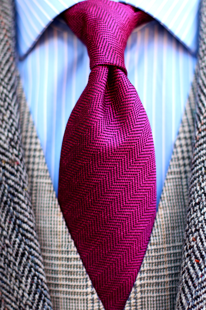 Tweed Jacket  Magenta Pink Herringbone Tie