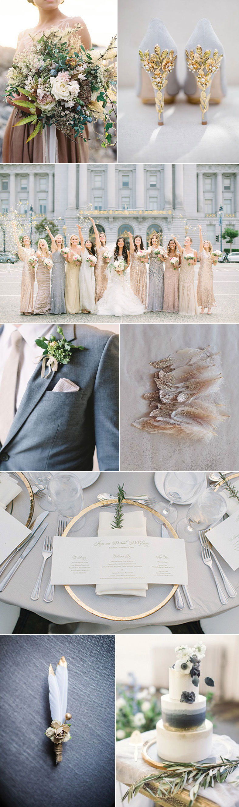 Ideas For a Glam Gray and Gold Wedding  Wedding Ties in