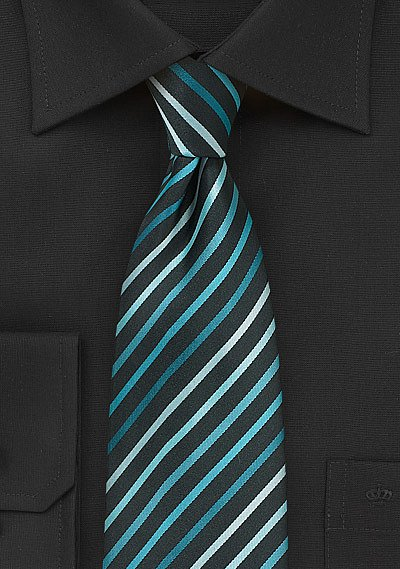 Aqua and Teal Striped Mens Tie  BowsNTiescom