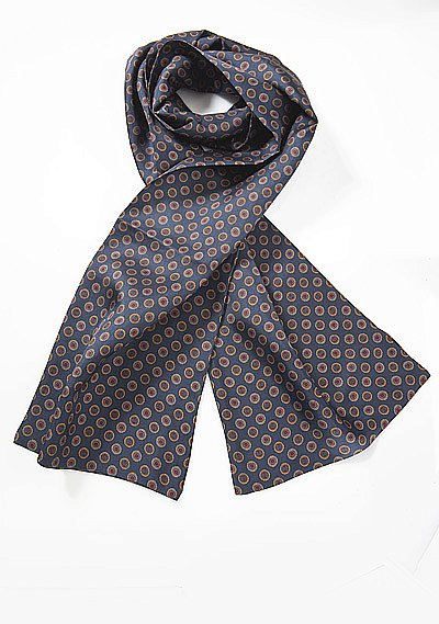 Mens Silk Scarf in Blue with Retro Print Design  BowsN