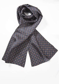 Mens Silk Scarf in Blue with Retro Print Design | Bows-N ...