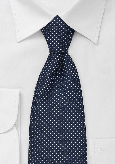 Midnight Blue Mens Tie With Small White Polka Dots  BowsNTiescom