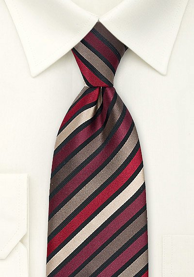 Striped Tie in Tan Burgundy Red  BowsNTiescom