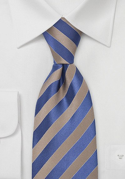 Mens Silk Tie in Tan and Blue  BowsNTiescom