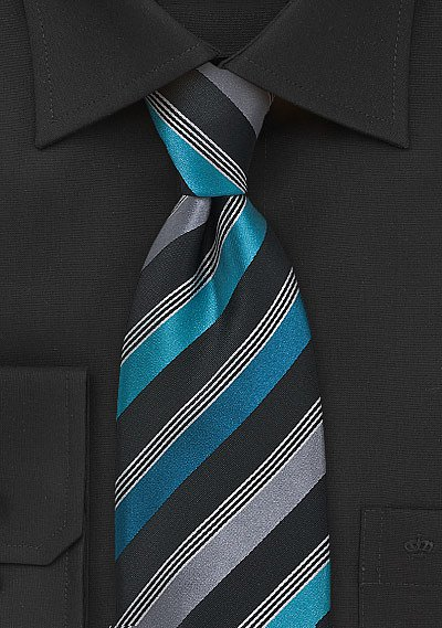 Striped Tie in Teal Black and Grey  BowsNTiescom