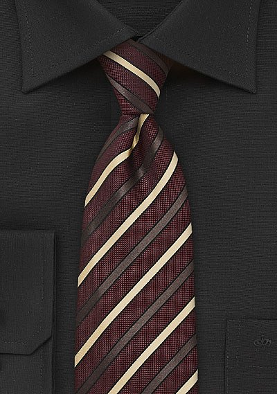 Burgundy Striped Tie with Gold Stripes  BowsNTiescom