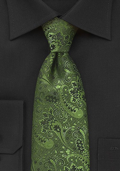 Olive Green and Black Floral Tie  BowsNTiescom