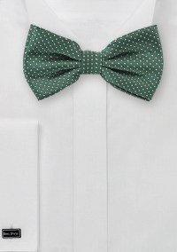 Hunter Green Bow Tie with Silver Pin Dots | Bows-N-Ties.com
