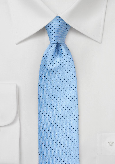Light Blue Skinny Silk Tie With Dark Navy Pin Dots Bows