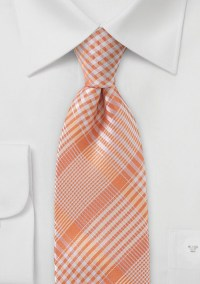 Peach Colored Tie with Check Pattern   Bows-N-Ties.com