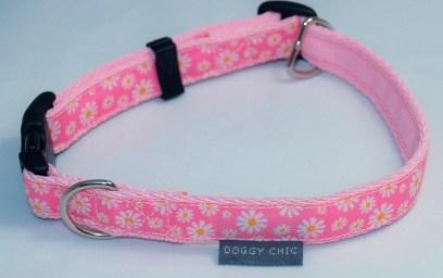 Pink daisy dog collar