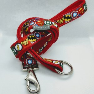 handmade red dog lead