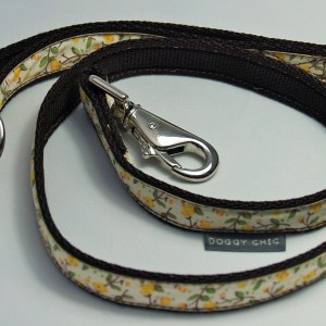 Doggy Chic Cotton Cream Floral Lead on Webbing with Metal Hardware Yellow