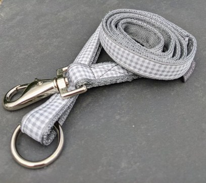 grey gingham lead for your dog