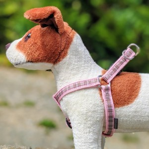 pink tartan dog harness