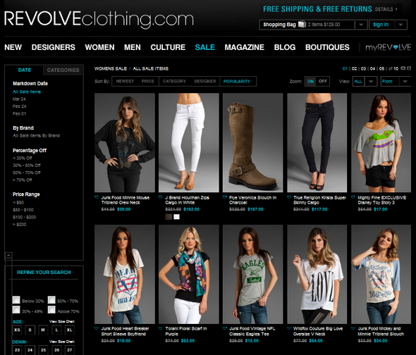 Revolve clothing shopping