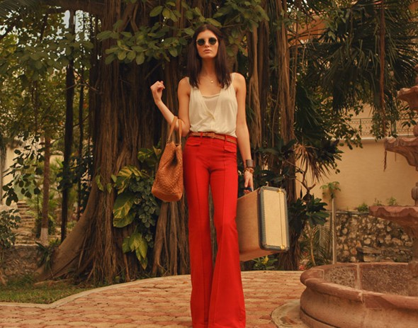 shopbop lookbook spring summer 2011 retro flare red rouge pants