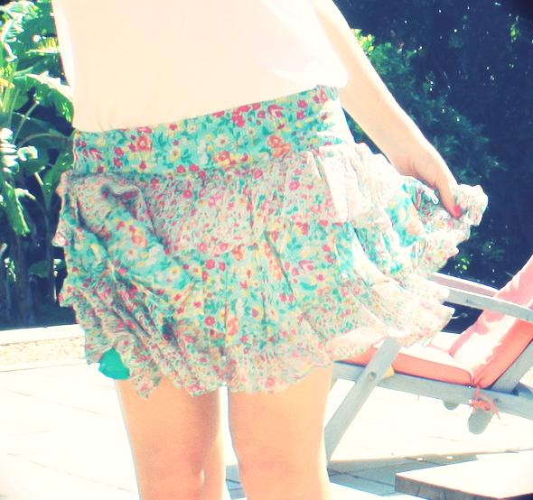 Zara flower skirt jupe fleurs soie silk mango blouse white blanche