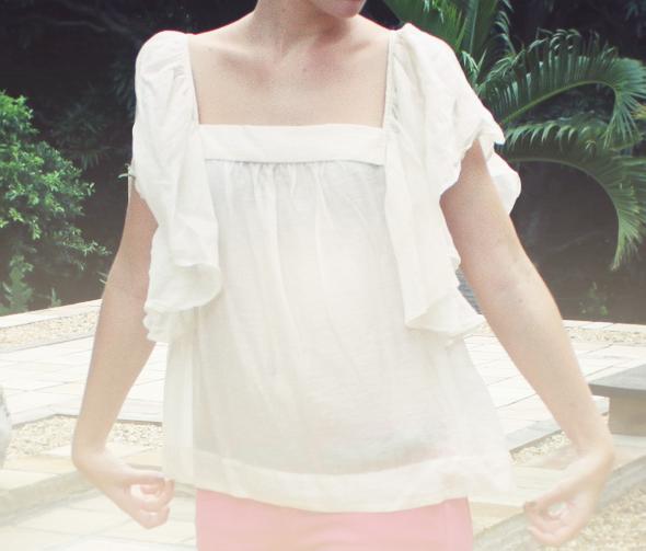 blouse mango creme ruffle